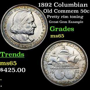 1892 Columbian Old Commem 50c Grades GEM Unc