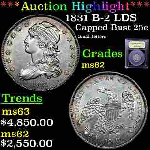 *Highlight* 1831 B-2 LDS Capped Bust 25c Graded Select
