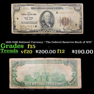 1929 $100 National Currency ' The Federal Resertve Bank