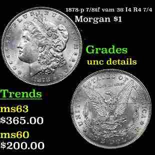 1878-p 7/8tf vam 36 I4 R4 7/4 Morgan $1 Grades Unc