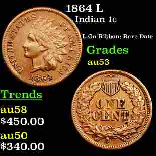 1864 L Indian 1c Grades Select AU