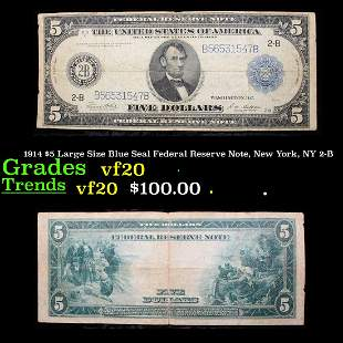 1914 $5 Large Size Blue Seal Federal Reserve Note, New