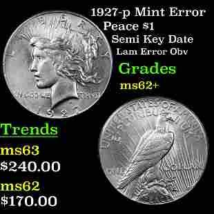 1927-p Mint Error Peace $1 Grades Select Unc