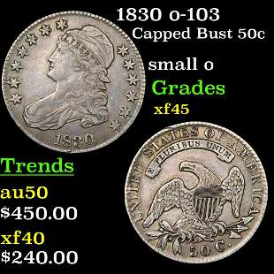 1830 o-103 Capped Bust 50c Grades xf+