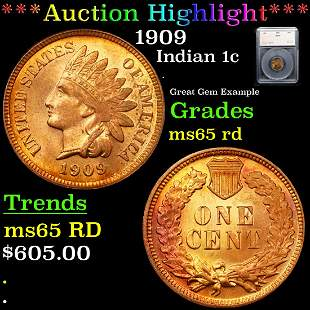*Highlight* 1909 Indian 1c Graded ms65 rd