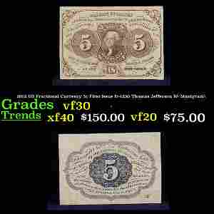 1862 US Fractional Currency 5c First Issue fr-1230