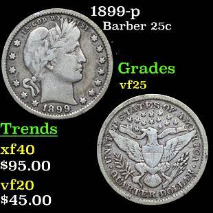 1899-p Barber 25c Grades vf+