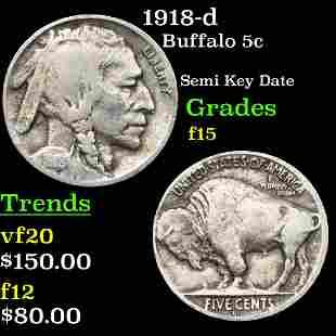 1918-d Buffalo 5c Grades f+