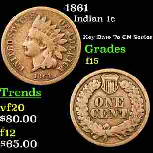 1861 Indian 1c Grades f+