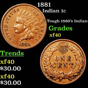 1881 Indian 1c Grades xf