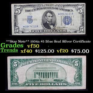 **Star Note** 1934a $5 Blue Seal Silver Certificate