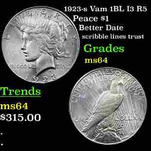 1923-s Vam 1BL I3 R5 Peace $1 Grades Choice Unc
