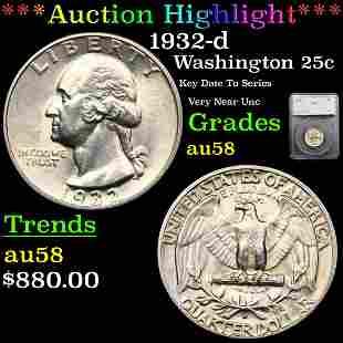 *Highlight* 1932-d Washington 25c Graded au58