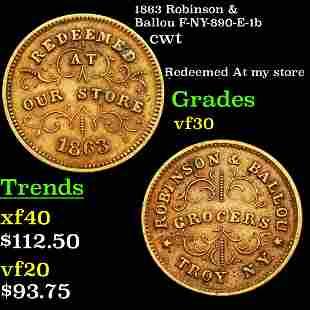 1863 Robinson & Ballou F-NY-890-E-1b cwt Grades vf++