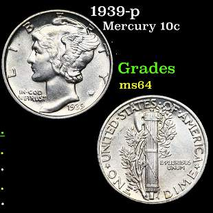 1939-p Mercury 10c Grades Choice Unc