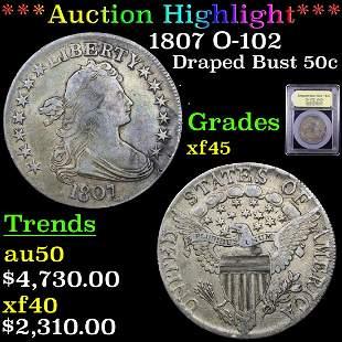 *Highlight* 1807 O-102 Draped Bust 50c Graded xf+