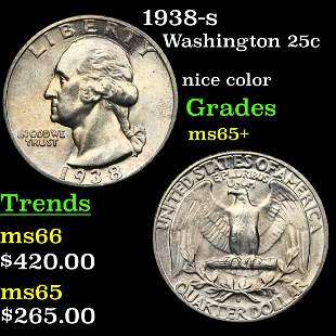 1938-s Washington 25c Grades GEM+ Unc