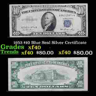 1953 $10 Blue Seal Silver Certificate Grades xf