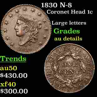 1830 N-8 Coronet Head 1c Grades AU Details