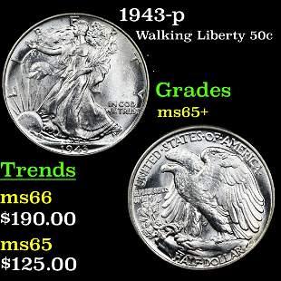 1943-p Walking Liberty 50c Grades GEM+ Unc