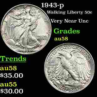 1943-p Walking Liberty 50c Grades Choice AU/BU Slider