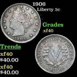 1906 Liberty 5c Grades xf