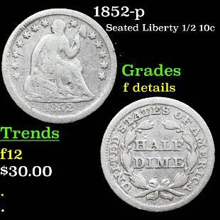 1852-p Seated Liberty 1/2 10c Grades f details