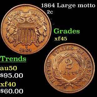 1864 Large motto 2c Grades xf+