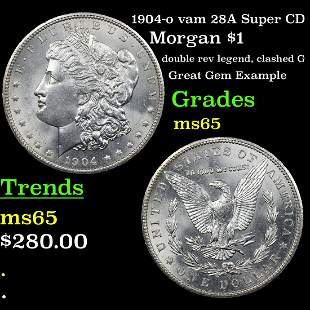 1904-o vam 28A Super CD Morgan $1 Grades GEM Unc