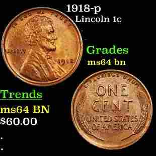 1918-p Lincoln 1c Grades Choice Unc BN