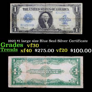 1923 $1 large size Blue Seal Silver Certificate Grades