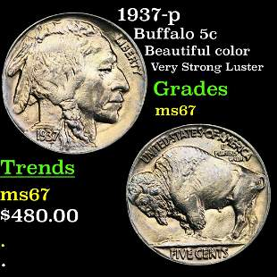 1937-p Buffalo 5c Grades GEM++ Unc