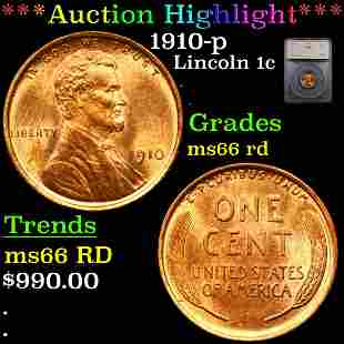 *Highlight* 1910-p Lincoln 1c Graded ms66 rd