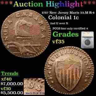 *Highlight* 1787 New Jersey Maris 55.M R-4 Colonial 1c