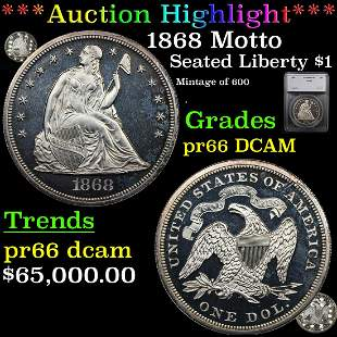 *Highlight* 1868 Motto Seated Liberty $1 Graded pr66
