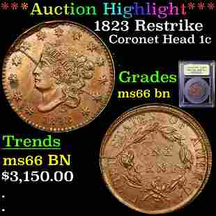 *Highlight* 1823 Restrike Coronet Head 1c Graded GEM+