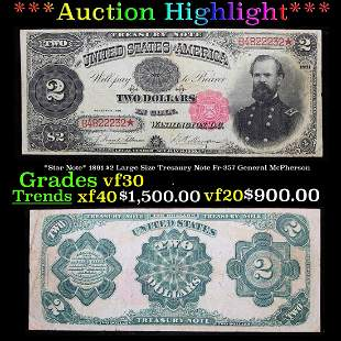 ***Auction Highlight*** *Star Note* 1891 $2 Large Size