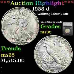 *Highlight* 1938-d Walking Liberty 50c Graded ms65