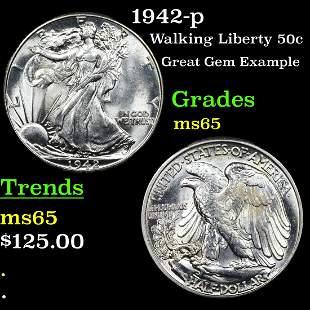 1942-p Walking Liberty 50c Grades GEM Unc
