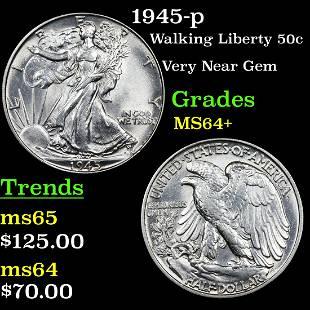 1945-p Walking Liberty 50c Grades Choice+ Unc
