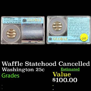 Waffle Statehood Cancelled Washington 25c GRaded BU+