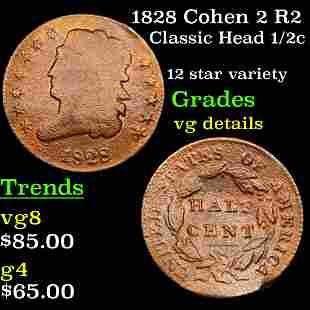 1828 Cohen 2 R2 Classic Head 1/2c Grades vg details