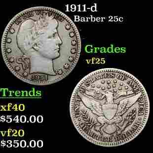 1911-d Barber 25c Grades vf+
