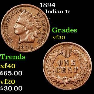 1894 Indian 1c Grades vf++