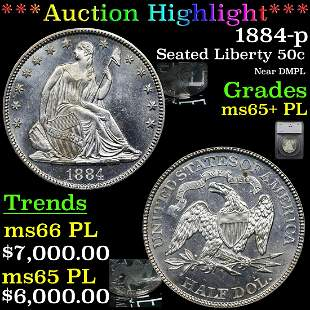 *Highlight* 1884-p Seated Liberty 50c Graded ms65+ PL