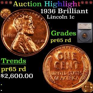 *Highlight* 1936 Brilliant Lincoln 1c Graded pr65 rd