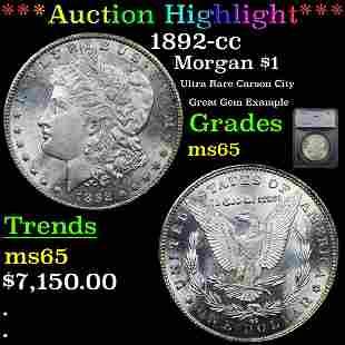 *Highlight* 1892-cc Morgan $1 Graded ms65