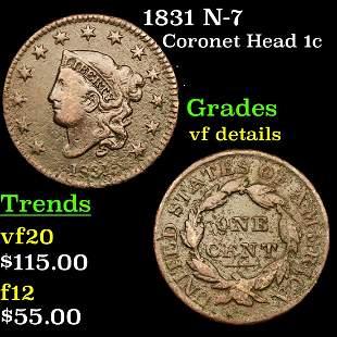 1831 N-7 Coronet Head 1c Grades vf details