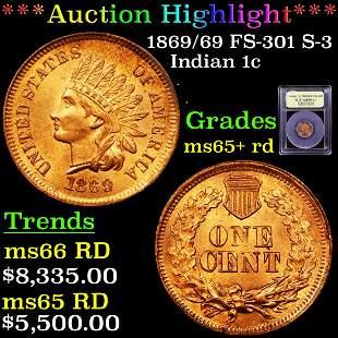 *Highlight* 1869/69 FS-301 S-3 Indian 1c Graded Gem+