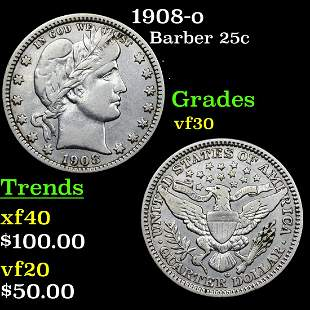 1908-o Barber 25c Grades vf++